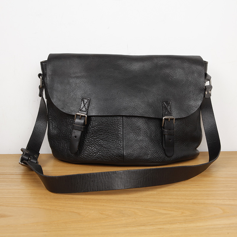 Anlage Japanischen Freizeit Handtasche Umhängetasche Rindsleder Stil Lan Herren Black Echtes Gegerbtem Leder Tasche pUxqRSZH
