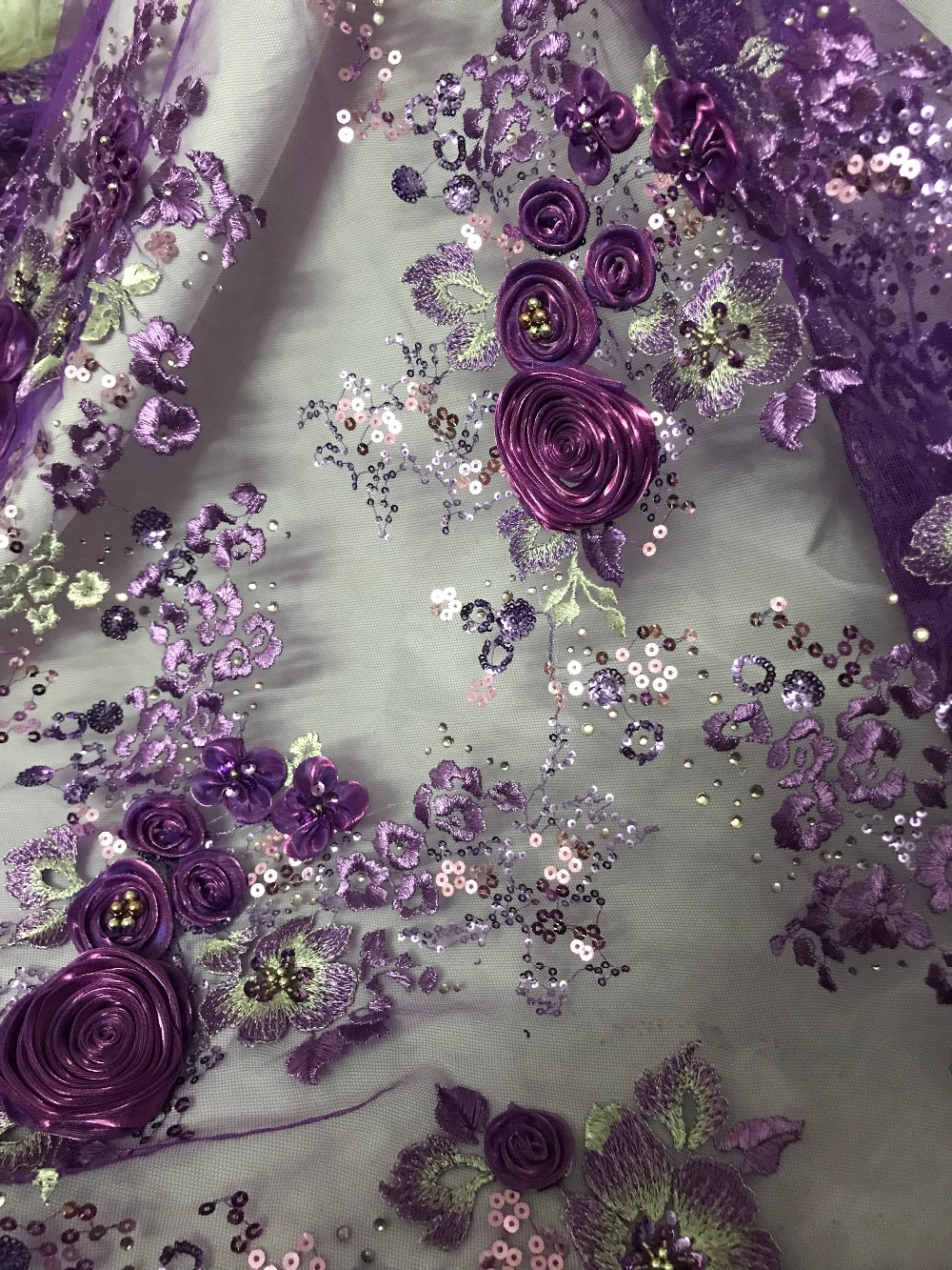 sat 51128 fashion African French Lace Fabric with embroidery best quality 3d flower embroidered African Tulle