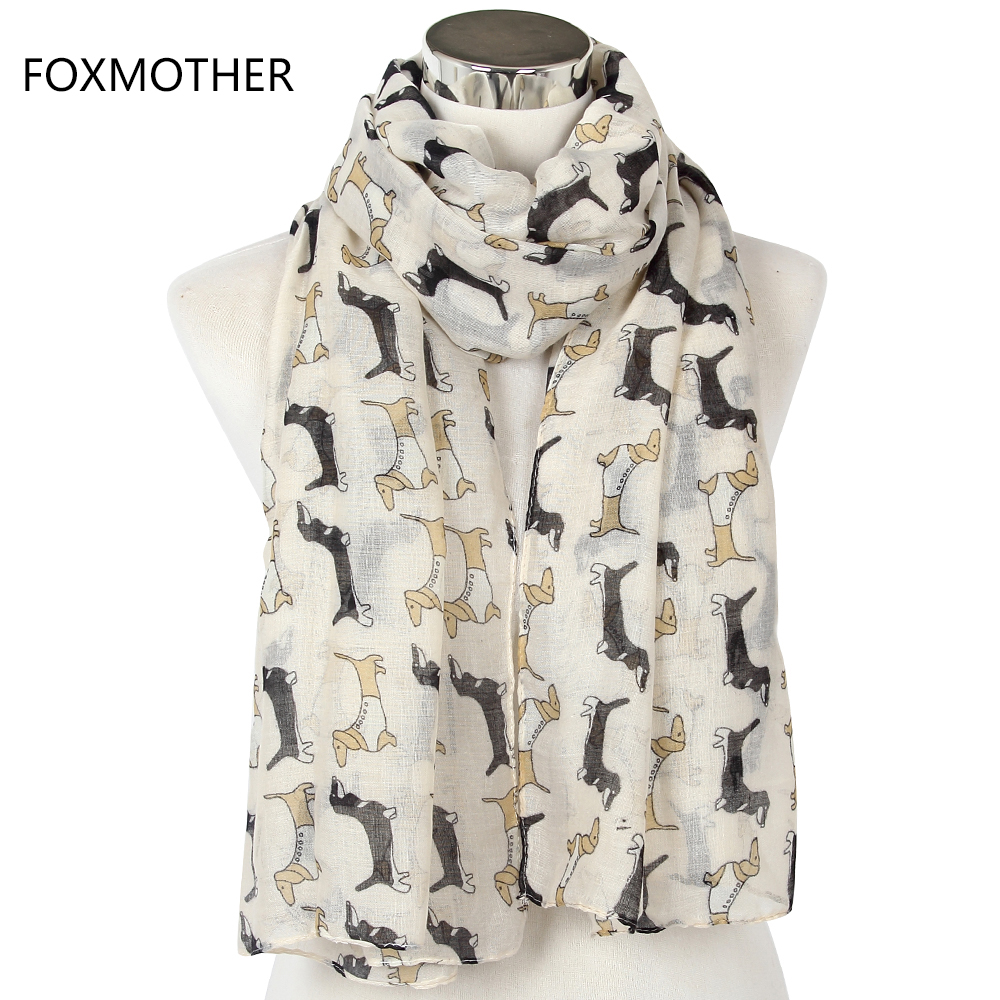 78c627cb1 2018 New Women Fashionable Lightweight Navy White Green Animals Dog Long  Scarf Shawls Pashmina For Woman -in Women's Scarves from Apparel  Accessories on ...