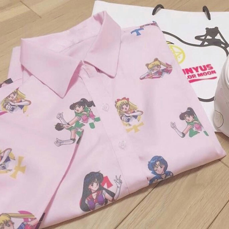 Anime Sailor Moon Pink Short Sleeve Shirts Harajuku T Shirt Women Clothes 2019 Cosplay Cute Kawaii Tops