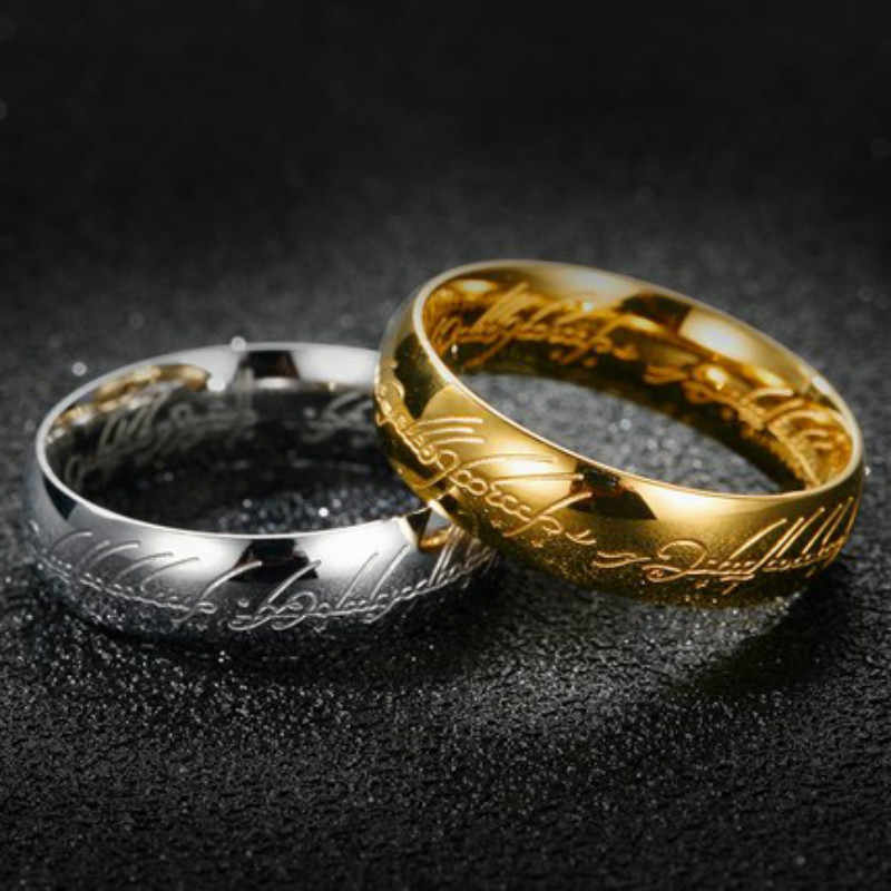 1pcs Sell English decoration Stainless Steel One Ring of Power the Lord of One Ring Lovers Women Men Fashion Jewelry Wholesale
