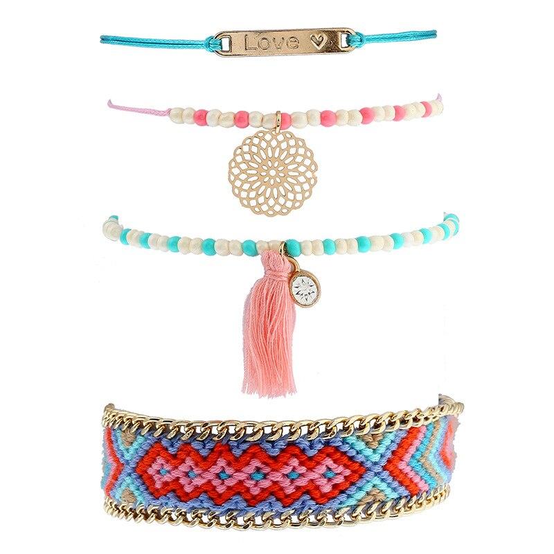 7733dc0c5727 Bohemio tejido pulseras conjuntos Mini cuentas redondo flor carta borla  encantos pulseras para mujeres 4 unids set pulsera hombre