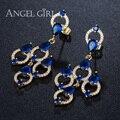 AngelGirl fine jewelry banhado a ouro Grande CZdiamond Brincos Longos Cheuk pendurado Casamento Brinco Pendente para mulheres online shopping índia