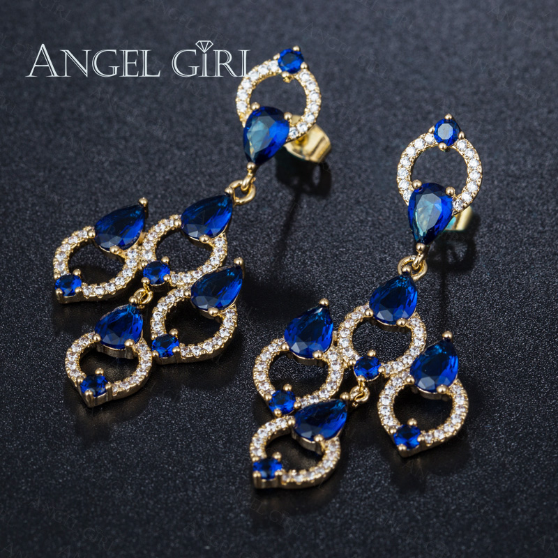 Angel Fine Jewelry Gold Colour Large Cz Zircon Long Earrings Cheuk Hung Wedding Drop Earring For Women Online Ping India In From