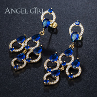 AngelGirl Fine Jewelry Gold Plated Large Sapphire Long Earrings Cheuk Hung Wedding Drop Earrings For Women
