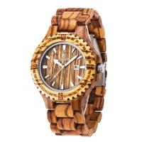 Dress Quartz Watches Men Natural Eco Wooden WristWatches Date Wood Watch Adjustable Wood Band Wristwatch Wood Watches
