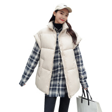 New Brand Winter Womens jacket Windproof Warm Long Cotton Waistcoat Casual Sleeveless  Standing collar femme coat vest