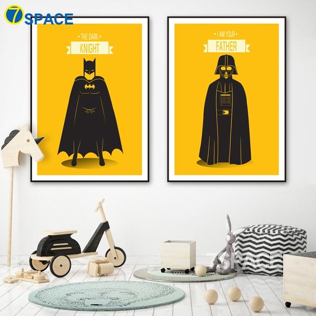 7 Space Modern Movie Poster Batman Black Warrior Wall Art Canvas ...