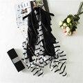 Полоса Шелковый Шарф Женщины Длинные Элегантные Шали Мягкая Платки Стиль Black & White Brand New