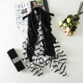 Stripe Silk Scarf Women Long Elegant Shawl Soft Foulard Style Black & White Brand New