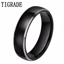 New Mens Black Brush Center Tungsten Carbide Promise Ring Wedding Band 6mm