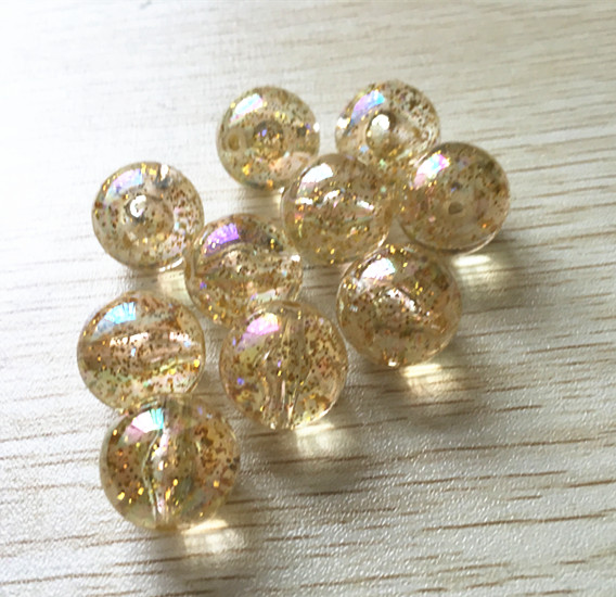 20MM/16MM/12MM (Choose The Size) Built-in Glitter Gold Color Clear AB Chunky Beads For Necklace Jewelry
