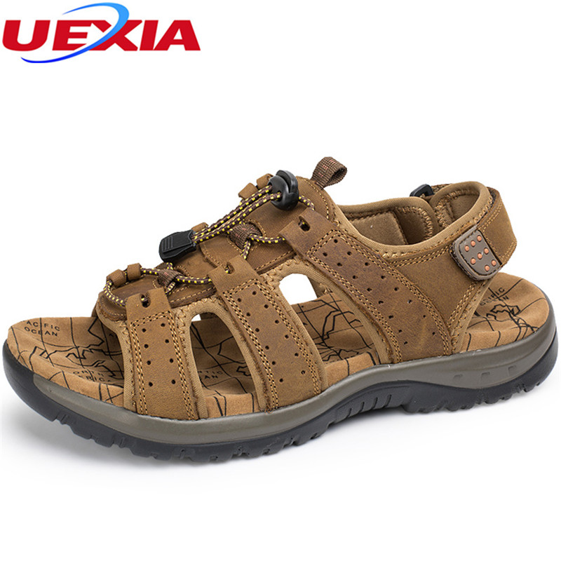 UEXIA Mens Flip Flops Sandals Casual Men Shoes Breathable Leather Summer Fashion Beach Sandal Sapatos Hembre Sapatenis Masculino