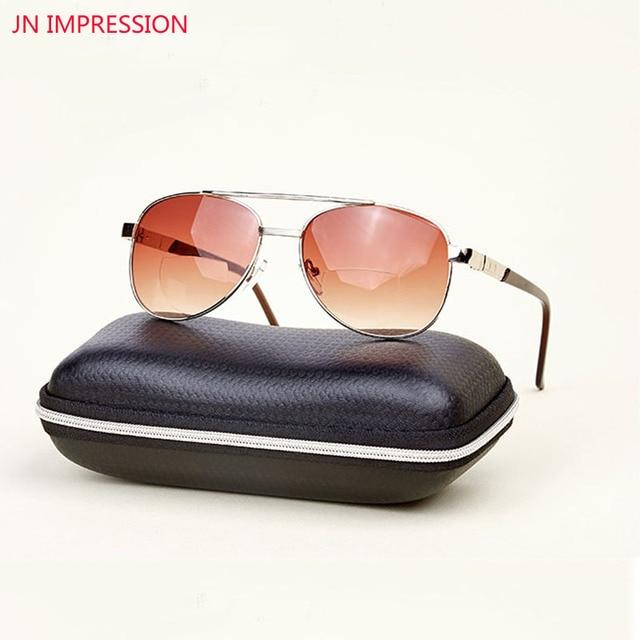 Multifocal Sun Readers Bifocal Aviator Reading Glasses Women Men Alloy  Frame Readers Eyewear With Box Oculos de grau 5de244418e
