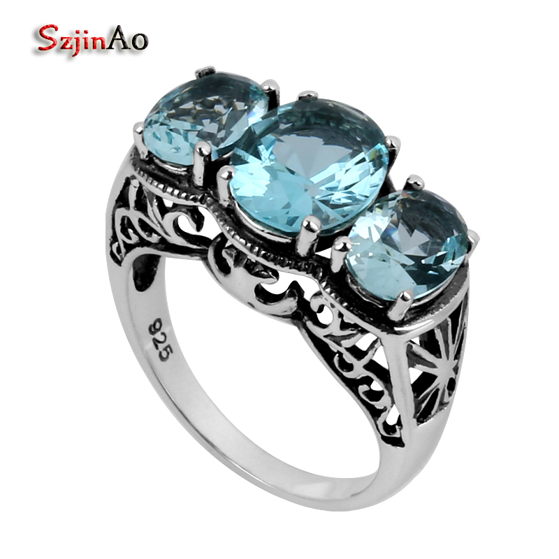 Szjinao Wholesale Fashion 925 Silver Ring Antique Jewelry Replica Victoria 4.2 Blue Aquamarine Women Sterling Silver Ring