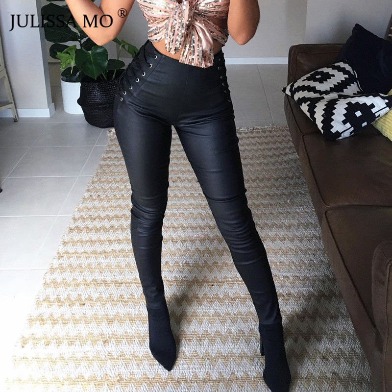 JULISSA MO Black PU Leather Bandage Bodycon Pants Women Elastic Waist Casual Pencil Pants Trousers Sexy Lace Up   Leggings   2018