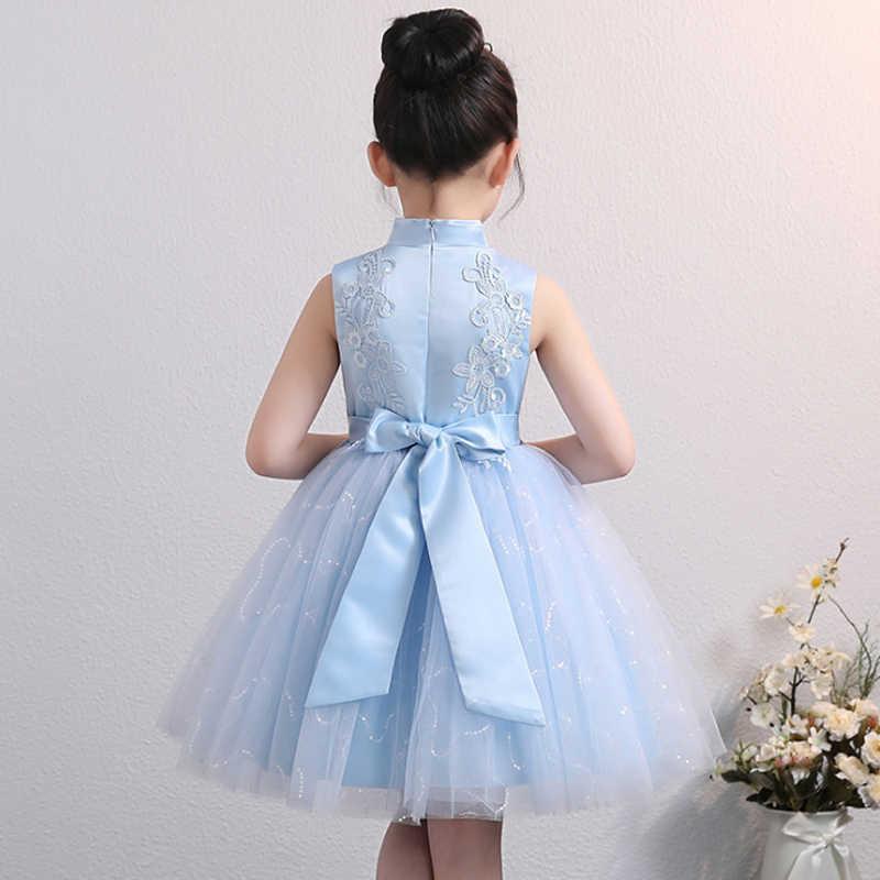 それのyiiyaブルーのためのボールガウン中国襟刺繍チュールフラワーガールのドレス裏地コットン 2019 BX1703