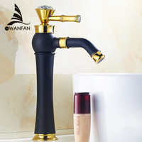 Basin Faucets Black Faucet With Gold Crystal Decorative Free Swivel Spout Hot and Cold Mixer Deck Mount ORB Vessel Taps SY 3836R