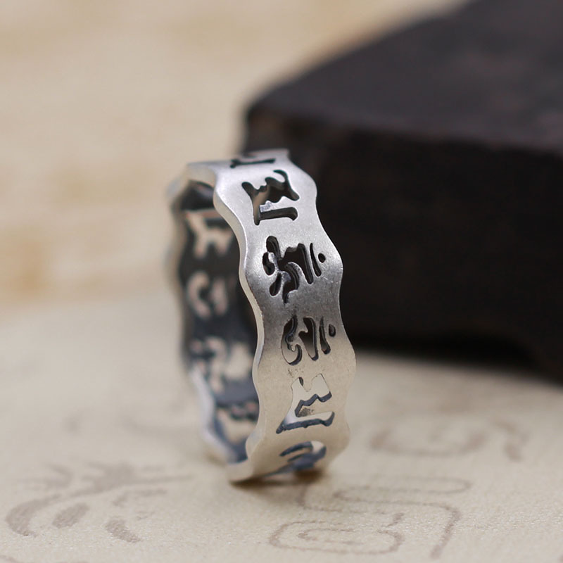 Thai silver do the old hollow six words mantra ring men and women ring safe evil spirits Buddhist silver ring
