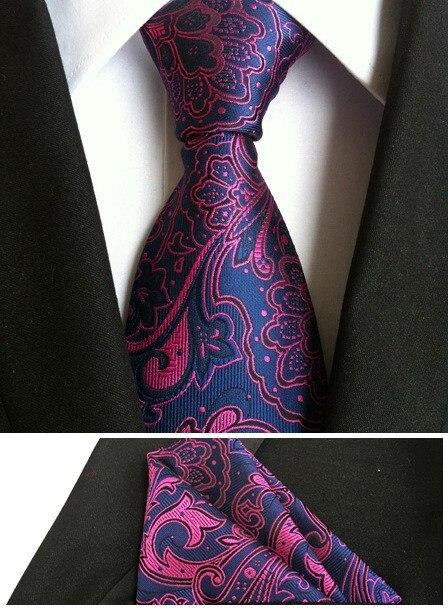 8 см Новое поступление комплект галстуков с карманом и квадратным карманом темно-синего цвета с красным Пейсли