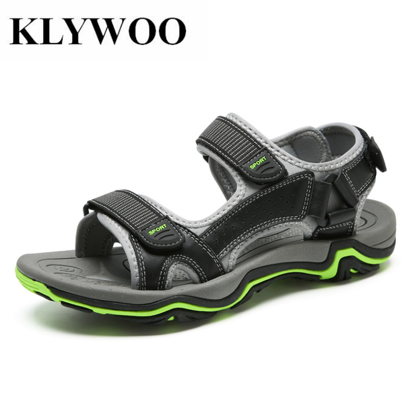 KLYWOO Big Size 45 Brand Genuine Leather Summer Soft Male Sandals Shoes For Men Breathable Light Beach Sandal Casual Shoes Men