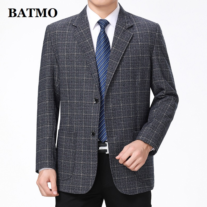 Batmo 2019 New Arrival High Quality Smart Casual Plaid Blazer Men,men's Casual Suits,men's Jackets Plus-size  10