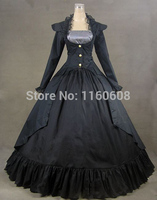 Gothic Victorian Navy Blue and Black 3 PC Gown Period Dress Theatre Reenactor Clothing Stage Ball Gowns