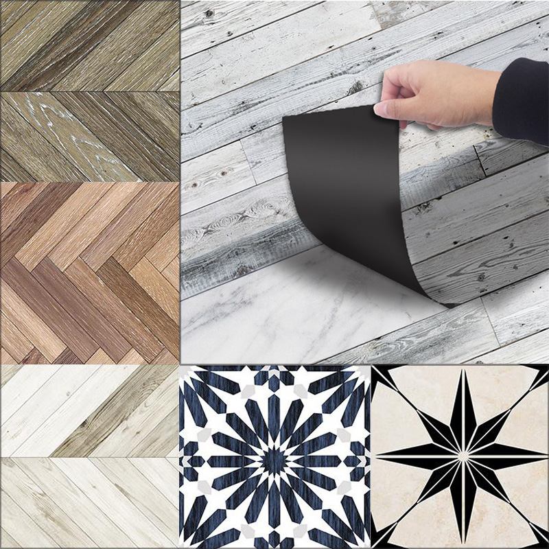Kuke 3D Floor Stickers Waterproof Tiles In Wall Stickers Wood Self Adhesive PVC Wallpaper For Bathroom Living Room Home Decor