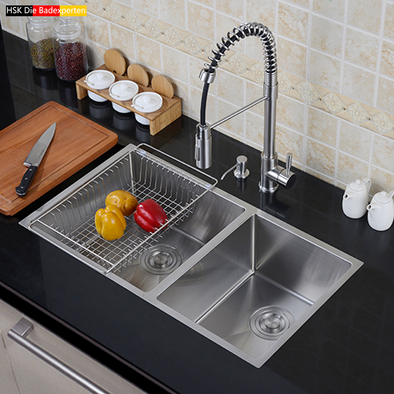 цены HSK kitchen 304 stainless steel sink double trough set of thick handmade dishes to wash dishes under the kitchen sink