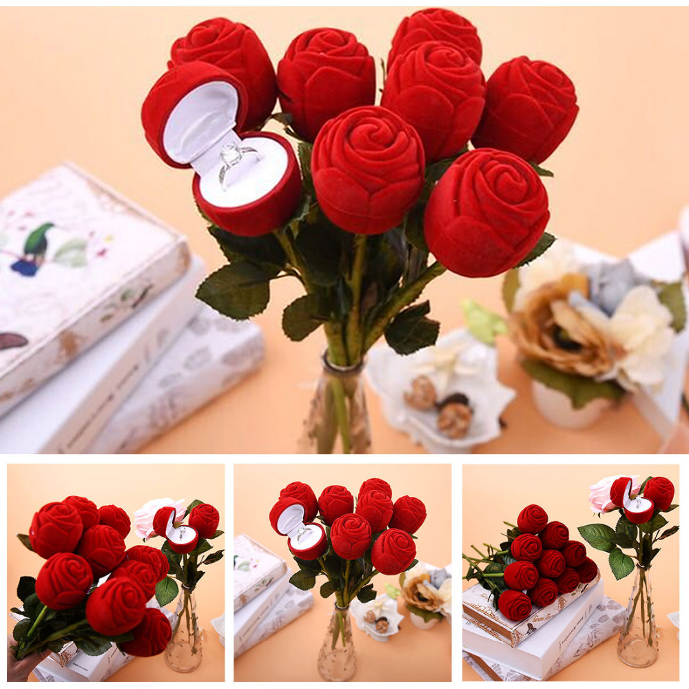 >Useful Red Rose Flower Wedding <font><b>Decoration</b></font> Creative Propose Ring Jewelry Box Earring Ring Storage Jewelry Organizer <font><b>Gift</b></font> Case