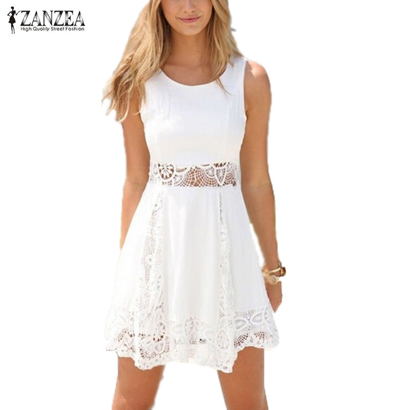 Zanzea 2017 summer style white dress women casual sólido atractivo del cordón si