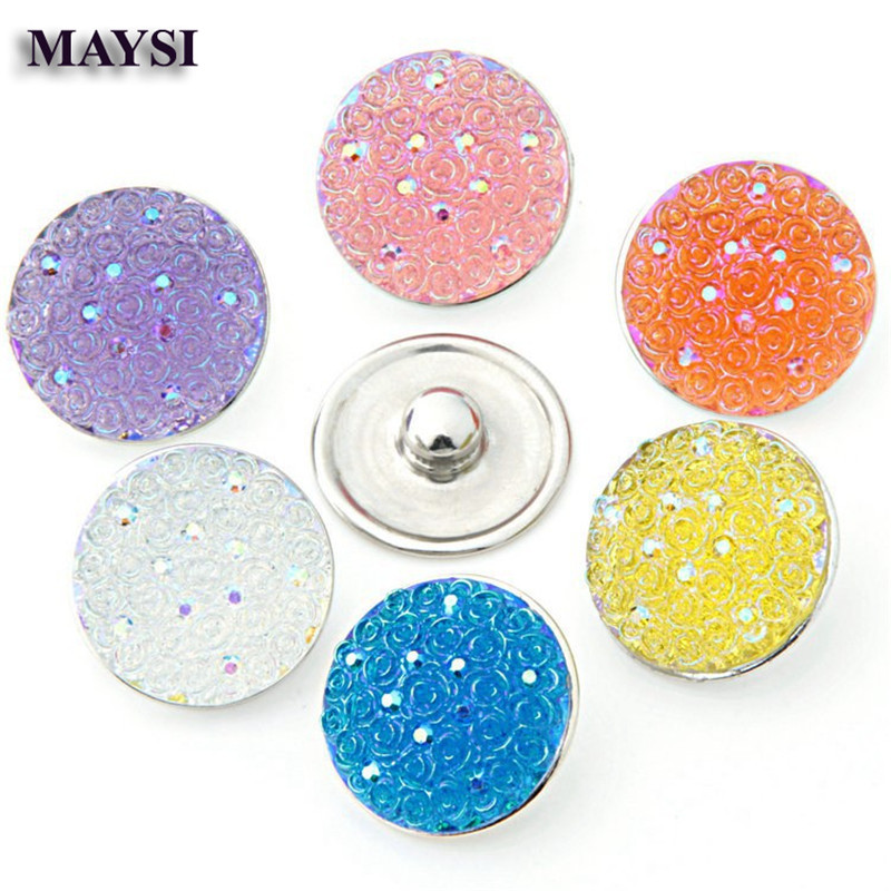 2016 NEW 10pcs/lot Mixed Styles 18mm Snaps Button Resin Ginger Snap Button Fit Charm Bracelet Jewelry se ...