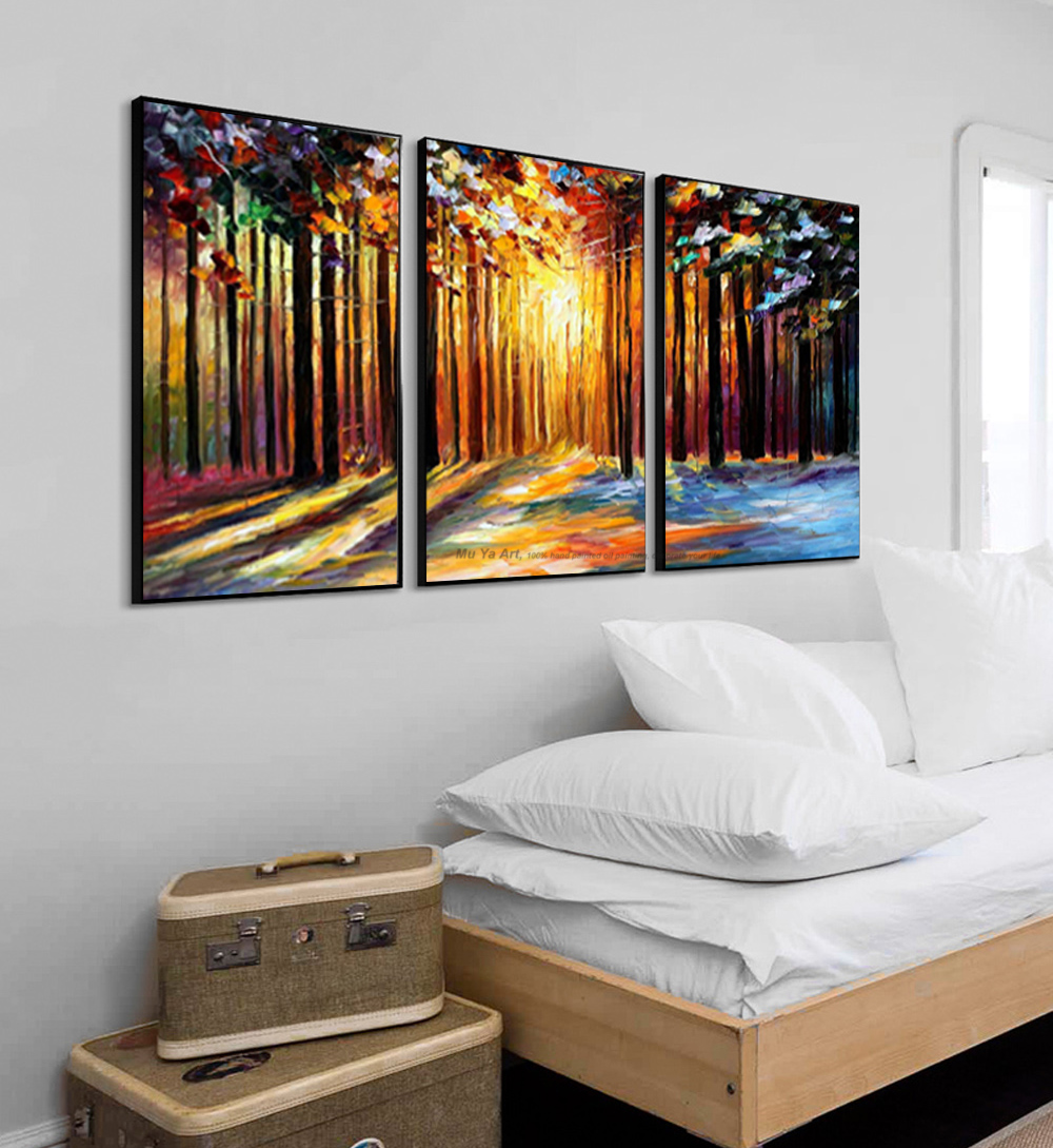 Us 57 32 18 Off Muya Hand Painted Palette Knife Painting Acrylic Painting 3 Piece Canvas Oil Painting Modern Tree Wall Pictures For Living Room In