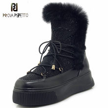Prova Perfetto BlingBling strass plates-formes chaussures femme compensées talon bottes boîte de nuit hiver bottes femmes plates moto bottes(China)