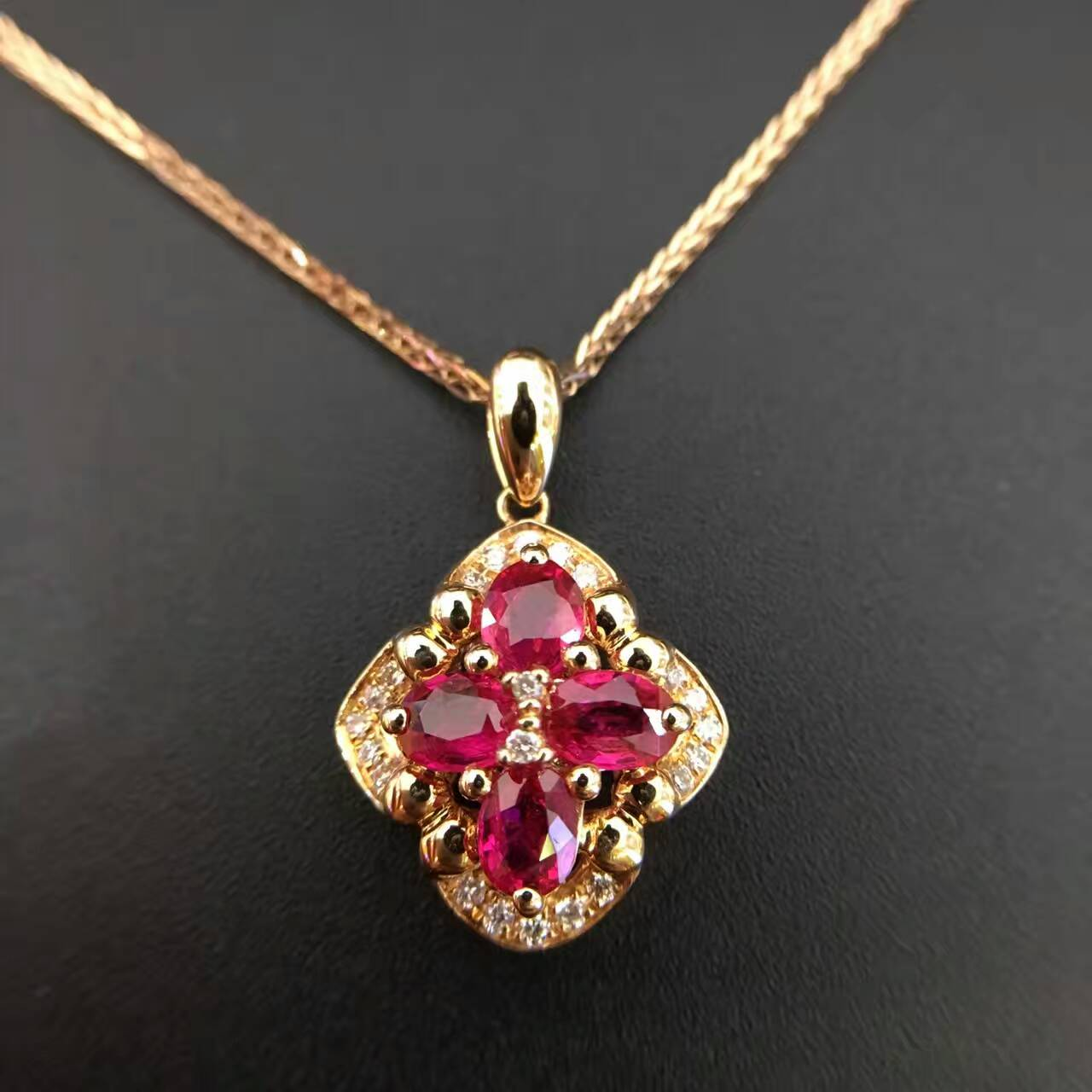 1 046ct 0 115ct 18K Gold Natural Ruby and Pendant font b Necklace b font font