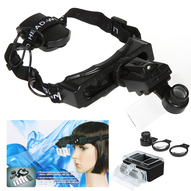 Headband Headset LED Light Magnifier Magnifying Glass Loupe Watch Repair 8 Lens Free shipping headband headset led head light magnifier magnifying glass loupe 5 lens set page 1