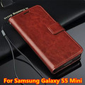 Case para Samsung Galaxy i9600 mini estojo de couro para Samsung Galaxy mini S5, vintage Genuine para Samsung Galaxy S5 mini-g800 estilo carteira telefone saco com portadores de cartão de suporte 5 cores
