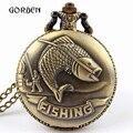 Мода Старинные Бронзовые Карманные Часы Ожерелье цепь кулон Рыбалка Рыбалка Античная Кварцевые Карманные Часы Мужские relogio де bolso