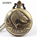 Fashion Bronze Vintage Pocket Watches Necklace chain pendent Fishing Angling Antique Quartz Pocket Watches Mens relogio de bolso