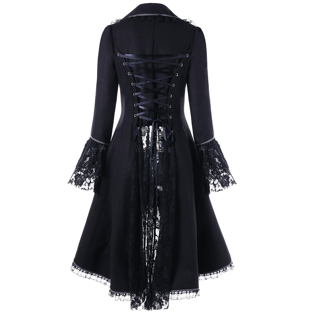 VESTLINDA Outerwear Coats Women Lace Panel Lace-Up High Low Coat Winter Coat Women New Fashion Casual Long Tops Black Red 2017 2