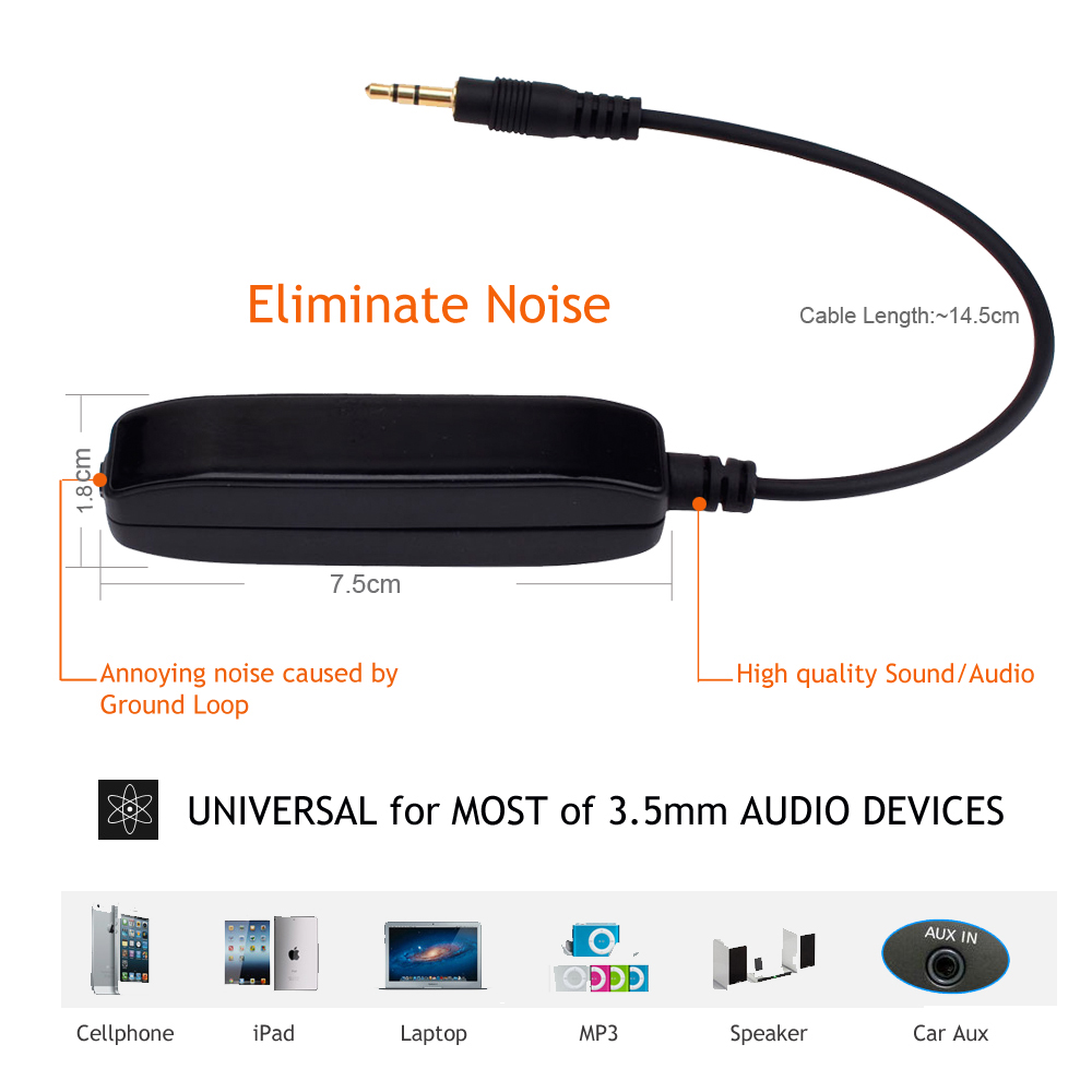 3.5mm Aux Audio Noise Filter Ground Loop Isolator Eliminate Car Electrical Noise 2