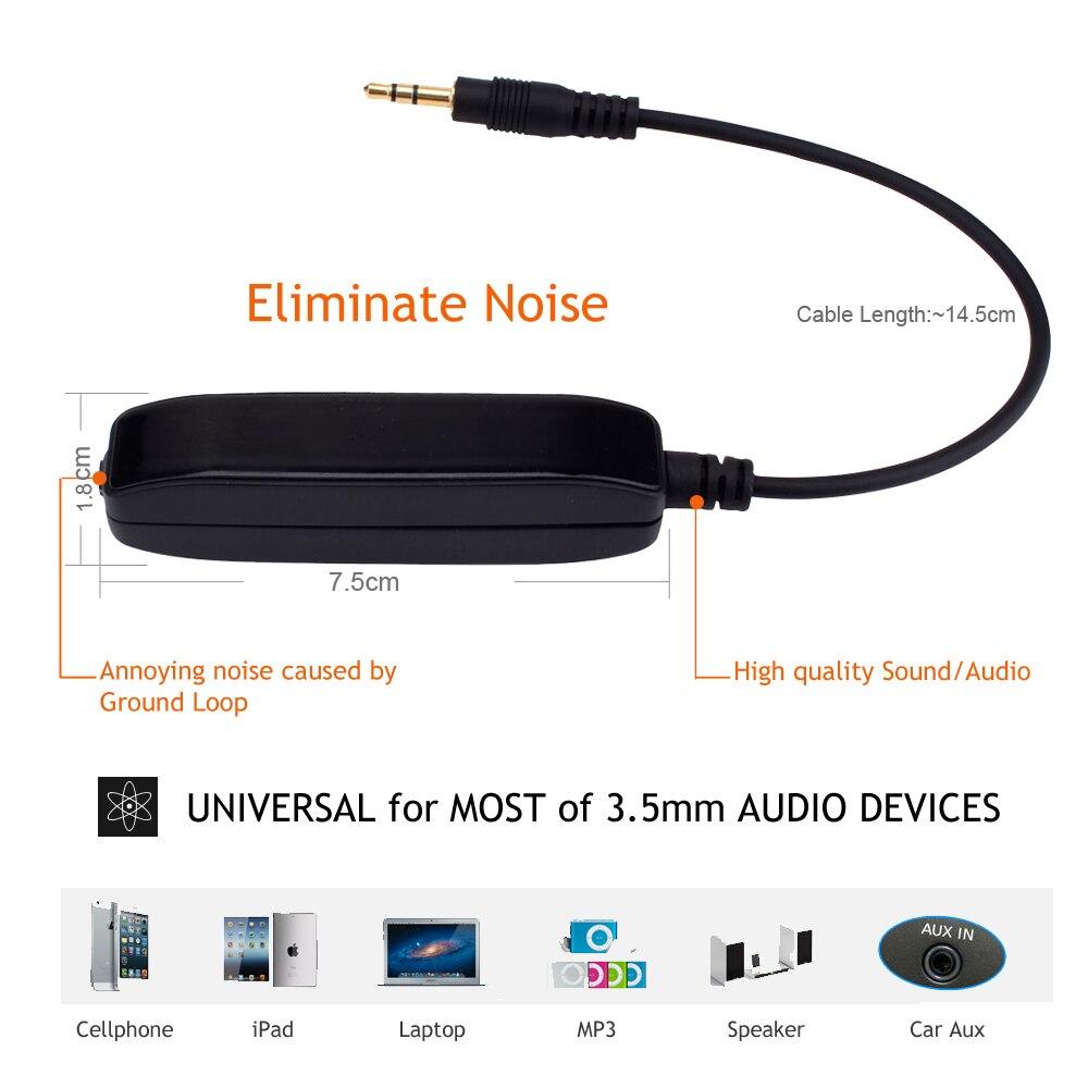 3,5 mm Aux Audio Noise Filter Ground Loop Isolator Eliminera - Bilelektronik - Foto 3
