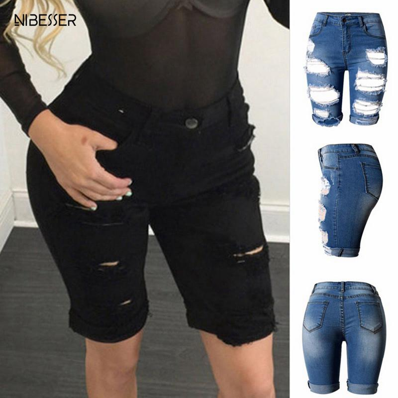 NIBESSER 2019 Sexy Women Summer Elastic Hole Short Pants Denim Shorts Half Ripped Fly   Jeans   Trousers High Waist Drop Shipping