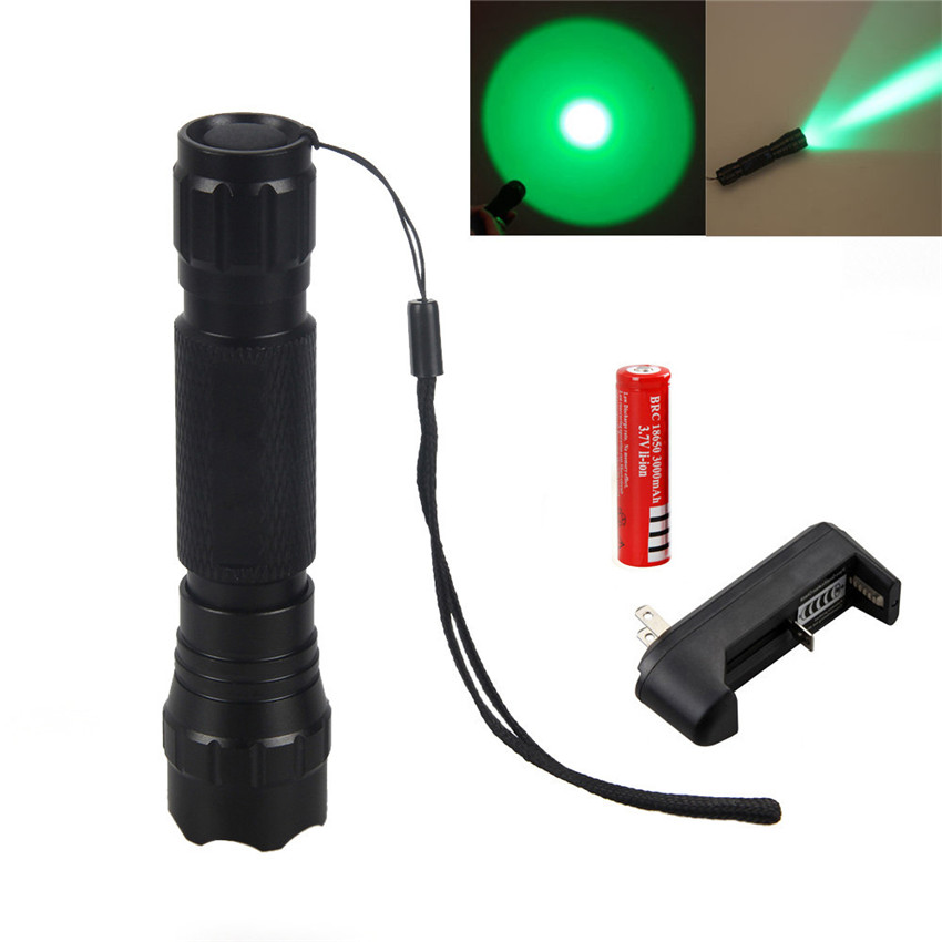 CREE XM-L Q5 White /Green /Red/Blue Light LED Tactical Hunting Flashlight 501B Torch+ Pressure Switch+Gun Mount +battery+charger