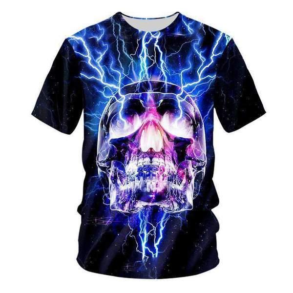 YFFUSHI 2019 Summer 3D Print T shirts For Men Skull 3d T shirts Hip Hop Cool Hot Tops Tees Streetwear For Men/Women Big size