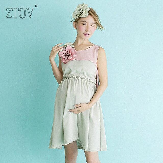 ZTOV Maternity Photography Props Maternity Dress for Pregnant women portrait photography Photo Shoot light blue Pregnancy dress