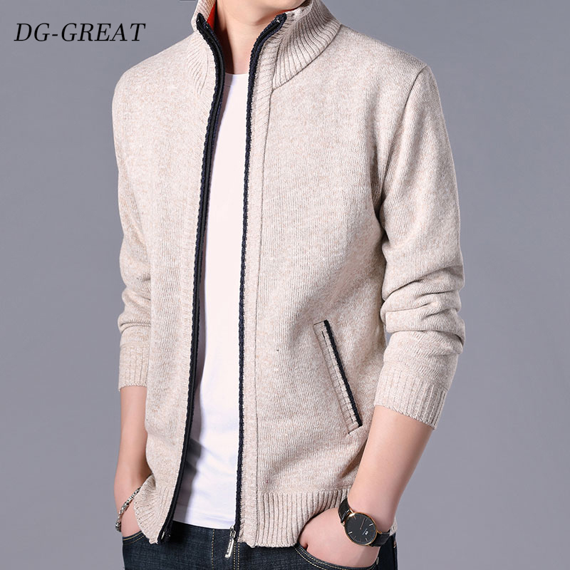 Men's Sweater 2019 Autumn Winter Zipper Cotton Cardigans Slim Fit New Fashion Solid Casual Sweater Men's Coats Clothing For Male