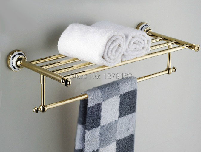 ФОТО Bathroom Wall Mounted Golden Gold Brass Ceramics Base Larger Towel Bar Towel Rails Bathroom Fitting aba256