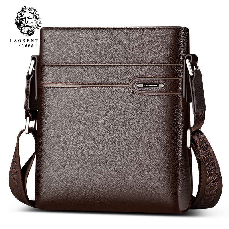 LAORENTOU Mænds Ægte Læder Business Messenger Bag Side Skuldertaske Mand Real Cow Læder Vintage Casual Crossbody Bag