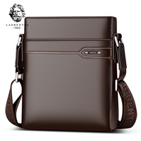 LAORENTOU Men's Genuine Leather Business Messenger Bag Side Shoulder Bag Man Real Cow Leather Vintage Casual Crossbody Bag